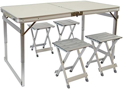 AMANKA Mesa para Acampada 120x70x70cm Incl 4 Taburetes Extra ...