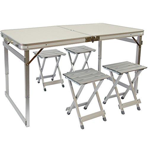 Tavoli Pieghevoli Da Campeggio.Amanka Tavolino Da Pic Nic Incl 4 Sgabelli Exta Stabile Tavolo Da
