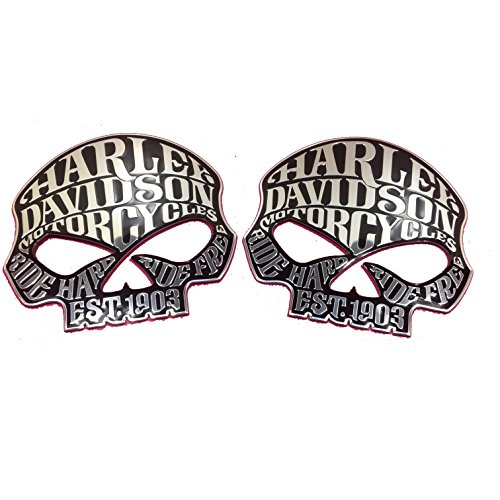 Two Flexible Metal Willie G Skulls 1903 Harley Davidson Motorcycle Emblem Badge Decal - Motorcycle Tank Emblems