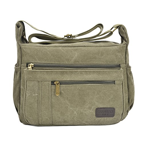 - Fabuxry Light Weight Canvas Shoulder Bag for Women Messenger Handbags Cross Body Multi Zipper Pockets Bags (Green)