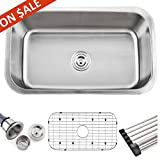 Bowl Sink Faucets Comllen Best Commercial 18 Gauge 31 Inch Undermount Single Bowl Stainless Steel Kitchen Sink, Bar Undermount Brushed Nickel Kitchen Sinks