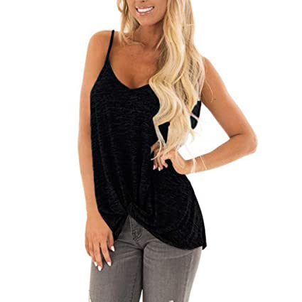 d34137d447fcc Image Unavailable. Image not available for. Color: Womens Spaghetti Strap Tank  Tops Twist Front Blouse V Neck ...
