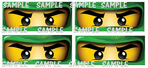 12 Ninjago inspired Stickers, CUT and PEEL, Party Supplies, Bag Labels, Party Decorations, Birthday,Ninjago Eyes, Ninjago Masks, Ninja eyes]()