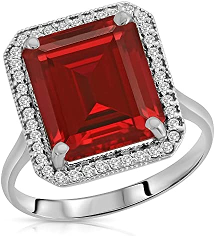 Details about  /1.62 Emerald 3 stone Simulated Ruby Modern Statement Ring 14k White Gold
