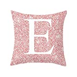 Throw Pillow Covers Alphabet Decorative Pillow Cases ABC Letter Flowers Cushion Covers Square Pillow Protectors for Sofa Couch Bedroom Car Chair Home Decor