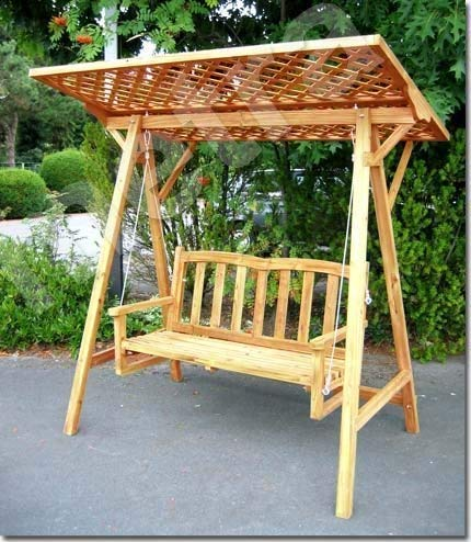 Metra Balancelle en bois avec toit en treillis