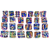 Dichroic Glass Knobs Custom Made Abstract Layered Mosaic - Cabinet or Drawer Pull Handle - 1'' / 30mm - Pink Cobalt Blue Purple Green Fused Glass