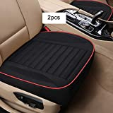 MHSZZAO Ultra-Luxury(W20.8×20.5×T4 Inch) Single Seat Without Backrest Senior Flax Car Seat Protection Car Seat,Car Seat Covers for Most Four-Door Sedan&SUV,2pcs(Black)