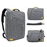 WIWU 15.6 Inch Laptop Briefcase Backpack Waterproof Convertible Multi-functional 3 in 1 Laptop Rucksack Messenger Single-shoulder Backpack for Men Women Business College Travel Satchel School Bag-Gray