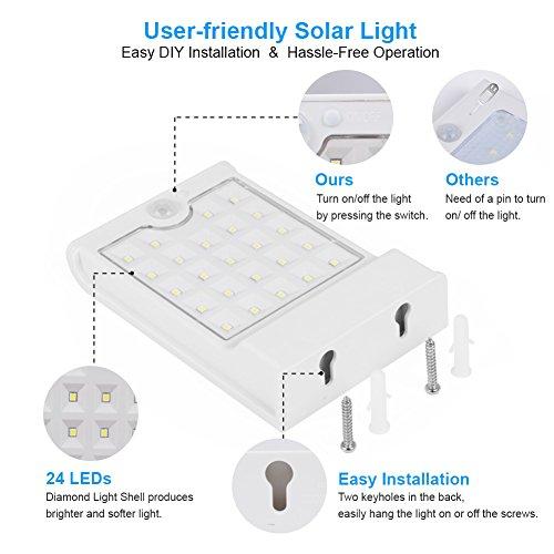 InnoGear 24 LED Solar Lights Motion Sensor Outdoor Wall Light Security Light Night for Gutter Patio Garden Path, Pack of 4 by InnoGear (Image #3)