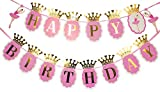 Flairs New York Happy Birthday Decorations Banner Party Props with Gold Crown Letters (Pack of 1 Banner, Baby Pink Ballerina/Gold Crown)