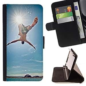 Devil Case- Estilo PU billetera de cuero del soporte del tirš®n [solapa de cierre] Cubierta FOR Samsung Galaxy S5 Mini SG870a, SM-G800- Sunsine Fly Man sea