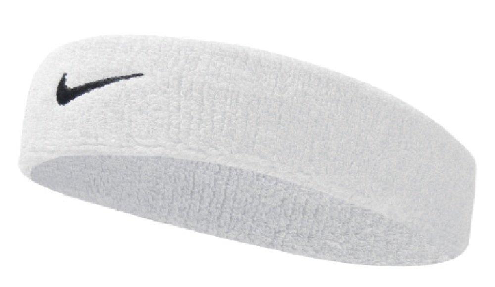 Nike Swoosh Headband (White/Black, OSFM) by Nike