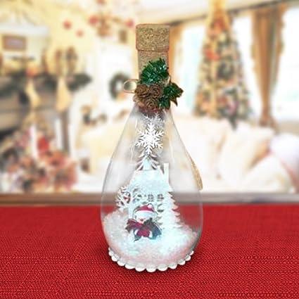 Botella de cristal con Scenario Nevado y diseño navideño con luz 23 cm para eventos Navidad
