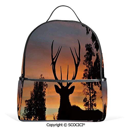 All Over Printed Backpack Black Deer Red Sky Background West Coast South Island New Zealand Nature Decorative,For Girls Cute Elementary School Bookbags (Best Hiking Trails In New Zealand South Island)