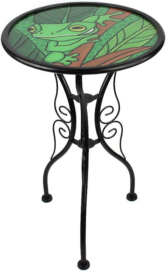 HONGLAND Frog Outdoor Side Table Accent Round Painted Glass Desk for Garden,Patio, Dining Room 14 Inches