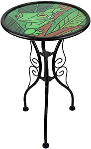 HONGLAND Side Table Outdoor Garden Round Painted Frog Glass Accent Desk for Patio, Dining Room