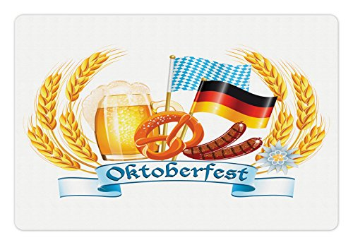 Lunarable Oktoberfest Pet Mat for Food and Water, Oktoberfest Celebration Design with Sausage Drink Flags Wheat Stems Banner, Rectangle Non-Slip Rubber Mat for Dogs and Cats, Yellow Blue