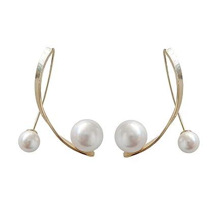 YOYOYAYA Aretes Imitaciones De Perlas Cruzado Earlines Mujeres Niñas Exquisita Joyería Partes Fechas Elegancia Regalos