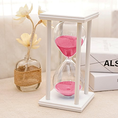 Bellaware 60 Minutes Hourglass Sand Timer, White Wooden Frame Pink Sandglass (Glass 1 Hour)