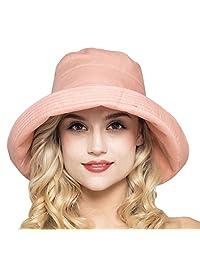 Xinqiao Women's Cotton Bucket Hat Sun Summer Flower Beach Caps Big Fold-up Brim