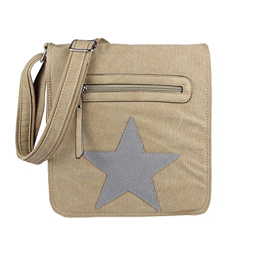 "Unisex Courierbag Star bolsa bolsa de lona bolsa de mensajero bolso de hombro cruzado hombro bolsa de tela verde Khaki 14.17""x11.81""x3.94"" caqui-gris"