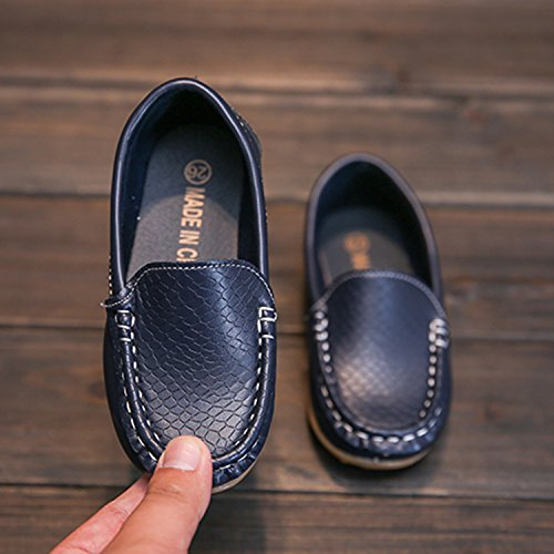 L-RUN Boy's Girl's Leather Loafers and Slip-On Boat-Dress Shoes/Sneakers Navy 2 M US Little Kid by L-RUN (Image #3)