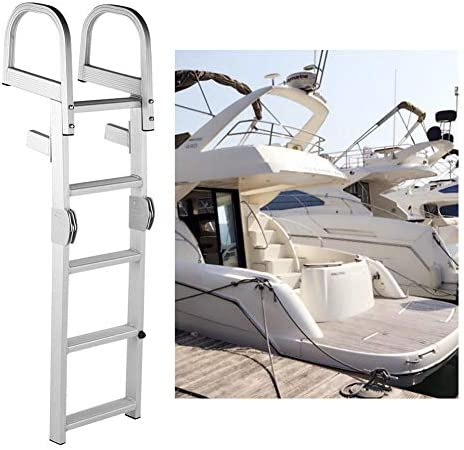 Akozon Marine Boat Ladder Escalera plegable de 5 peldaños Pontón de aluminio: Amazon.es: Coche y moto