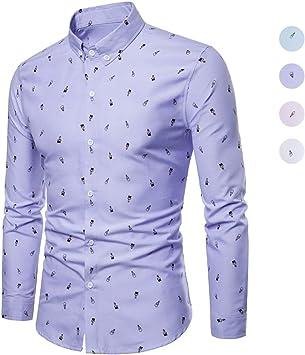 X&Armanis Camisa de otoño para Hombre, Camisa Estampada de Dibujos Animados en Mezcla de algodón Camiseta de Manga Larga con Solapa: Amazon.es: Deportes y aire libre
