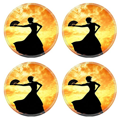 Flamenco Dancer Costume Ideas (Luxlady Natural Rubber Round Coasters IMAGE ID 21164069 Woman dancing flamenco)