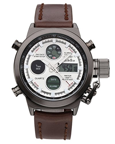 Top Plaza Men's Fashion Multifunction LCD Digital Electronic Sports Watch Analog Luminous Waterproof Brown Leather Band Quartz Wrist Watch(Black Dial White - Analog Digital White Mens Dial