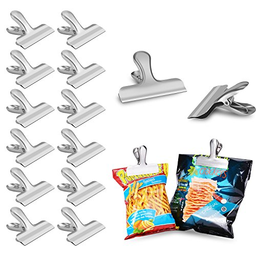 Chip Bag Clips set of 12 - LEYOSOV 3 Inches Wide Stainless Steel Heavy-duty Chip Clips, All-Purpose Air Tight Seal Grip Clips for Kitchen Office by LEYOSOV