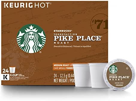 Starbucks Pike Place Roast Medium Roast Single Cup Coffee for Keurig Brewers, 4 boxes of 24 (96 total K-Cup pods)