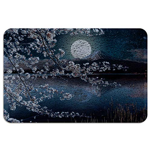 EZON-CH Outdoor Doormat for Entrance Way Front Welcome Mat,Mt. Fuji and Cherry Blossoms at Night Doormats for Bedroom Living Room Kitchen Indoor Washable Shoes Scaper,24 x 35 Inch