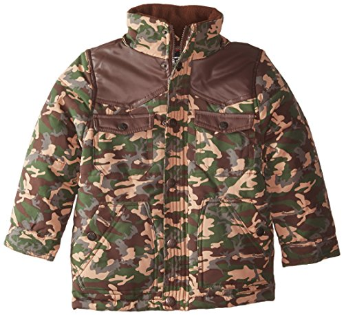 with Pleather camouflage Jacket YMI Bubble Contrasting Yoke Detachable Hood Boys' and vXxwZZTt