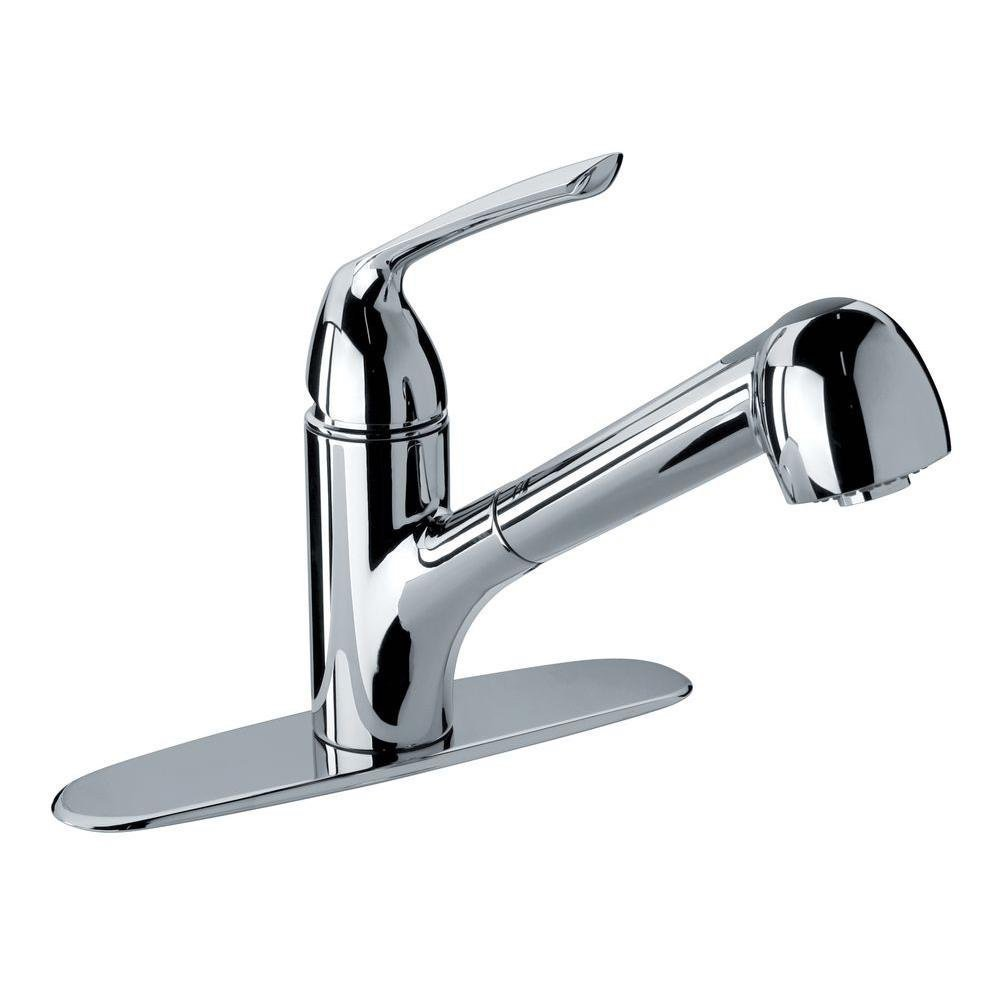 Glacier bay milano single handle pull out sprayer kitchen faucet in chrome amazon com