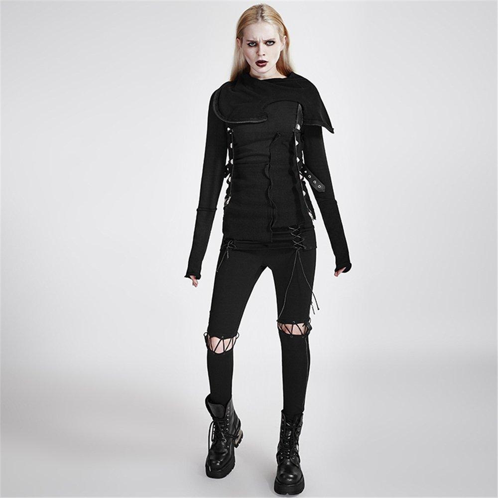 Peony ghost Punk Multi-Layer Women Pullover Sweaters Stitching Knitted Sweater with Hood Long Sleeve Spring Sweaters