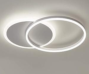 Ganeed LED Ceiling Light,Modern Flush Mount Chandelier,37W Round Light Fixture 6500K Cool White Ceiling Lighting for Living Room, Hallway, Bedroom, Foyer