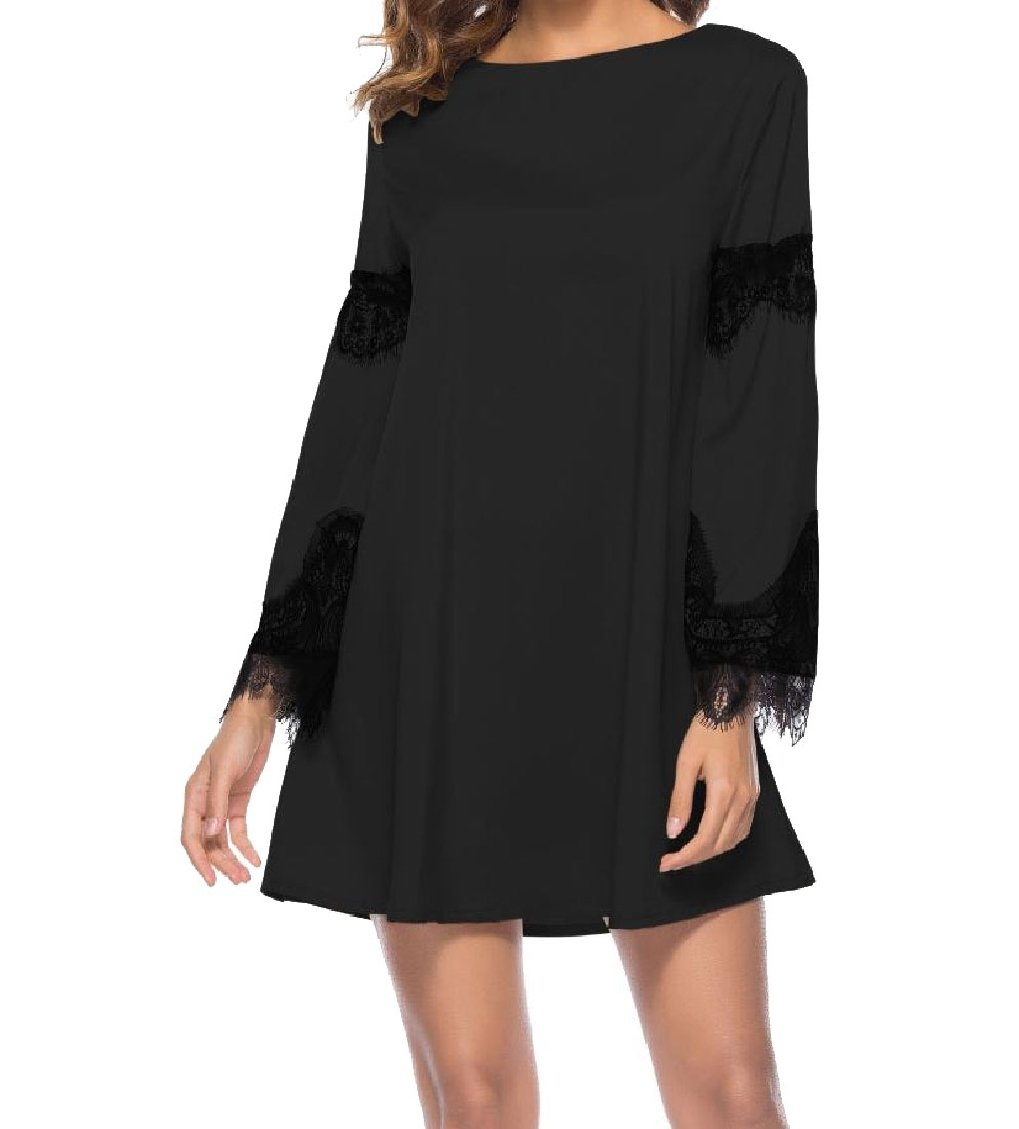 MLG Womens Baggy Style Stitch Hollow Out Hit Color Lace Dress Top Black M