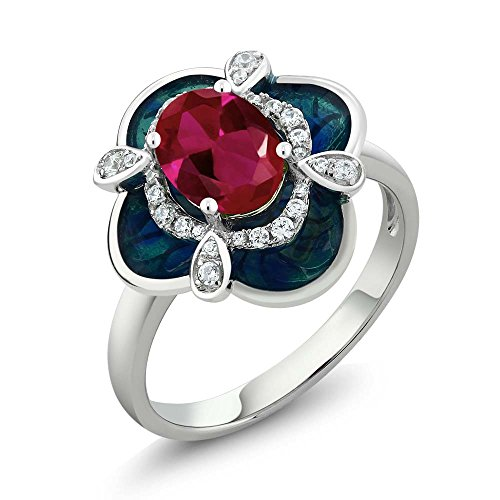 (Gem Stone King 1.44 Ct Oval Red Created Ruby 925 Sterling Silver Enamel Flower Ring (Size 5))