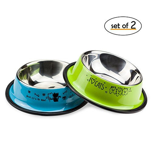 Uligota 2 Pack Stainless Steel Cat Bowl,Small Heavy Duty Dog & Cat Dish with Non-Skid Rubber Bottom, Pet Food & Water Bowl 8 Ounce (L, Blue/Green) by Uligota