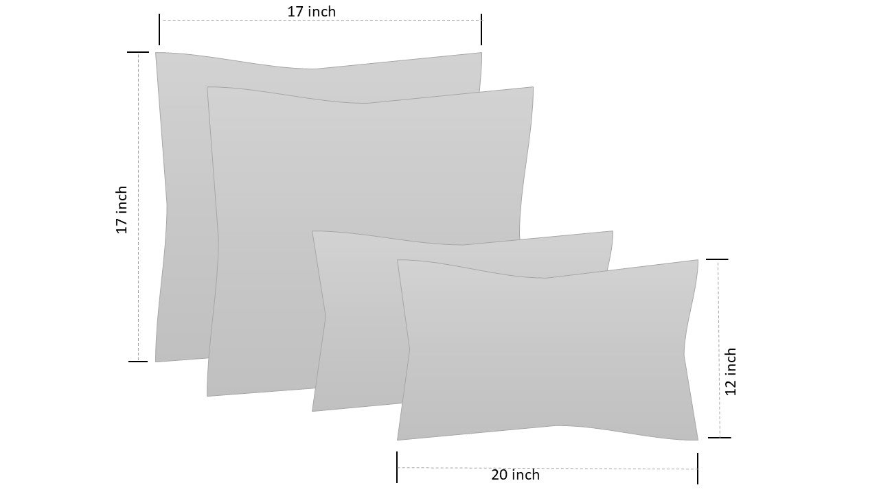 RSH Décor Set of 4 Indoor/Outdoor Square & Rectangle Lumbar Throw Pillows Made of Sunbrella Canvas Black (20'' x 12'' & 17'' x 17'')