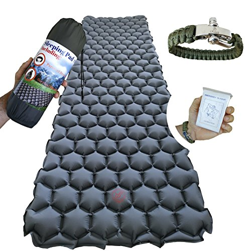 Ultimate Backpacking Inflatable Sleeping Pad - Ultra-Lightweight, Compact & Comfy Inflating Camping Mat - 20D Waterproof & Tear-Resistant Nylon - Comfortable Air Cells Design for Travel and Hiking