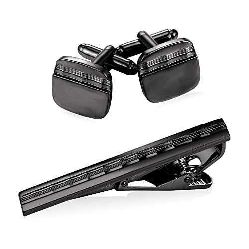 U7 Men Black Gun Plated Shirt Studs Square Wave Grain Cufflinks & Tie Bar Clip Set,3 Pcs