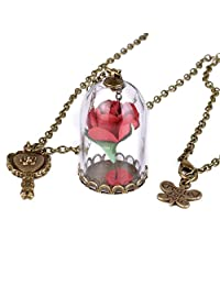 Rose in Glass Dome Enchanted Rose Necklace Jewelry