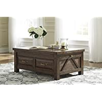Signature Design by Ashley T862-20 Windville Cocktail Table with Storage, Dark Brown