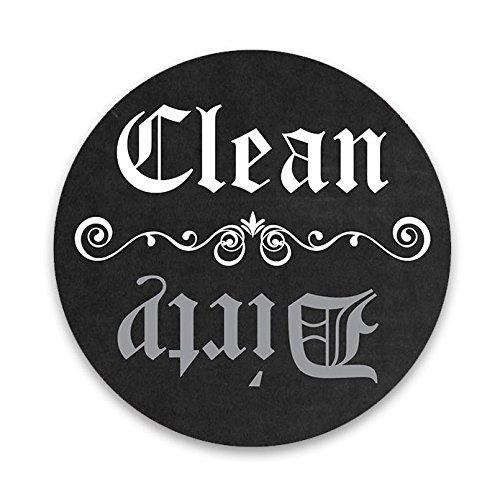 Dishwasher Magnet Clean Dirty - Black & White 3 inch Round Magnet - Chalkboard Style Kitchen Magnet for Home Decor, Gift for Men & Women, Hostess Gift, Made in - For Round Faces Guide Sunglasses