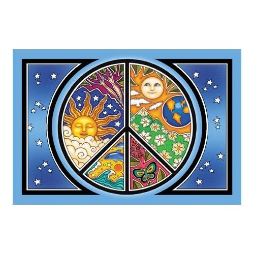 Peace Symbol - Dan Morris, Set of 2 Mailable POSTCARD for Travel Welcome Invitations Holiday Thank you Cards - 6