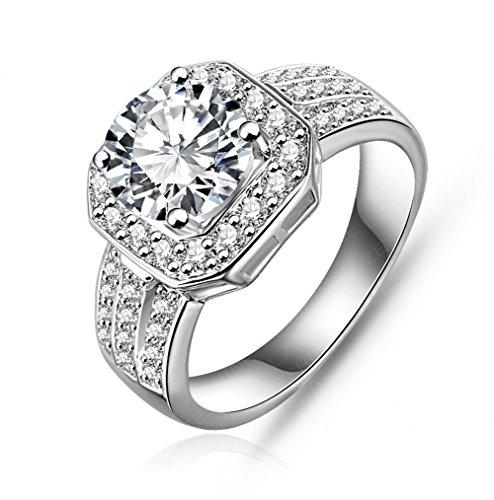 Women's 3 Row AAA Cubic Zirconia Hemisphere Around 14K White Gold Plating Engagement Wedding Rings,Size 6 7 8 - 10k Engagement Ring