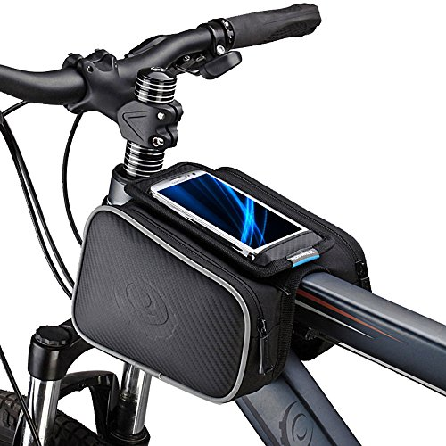 Bicycle Tube Frame Cycling Pannier Holder Bag Bike Pouch &5.5 inch Mobile Phone Screen Touch Bag-Black